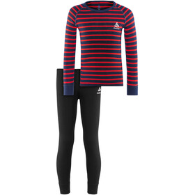 Odlo Active Originals Warm Set Kids diving navy-hibiscus-stripes